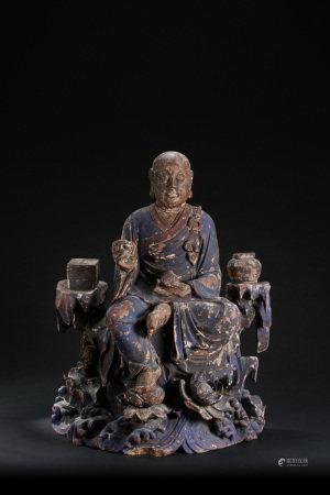 清代 木雕彩繪羅漢座像