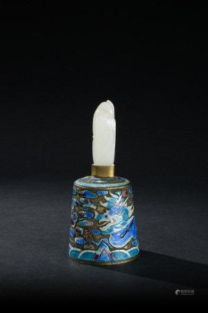 清代 銀燒蘭嵌白玉鈕海水龍紋法鈴