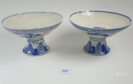 A pair of Chinese blue and white comports painted flowers and text, 19cm diameter