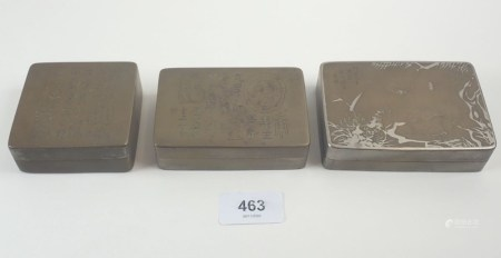 Three Chinese bronze watercolour ink boxes with incised decoration
