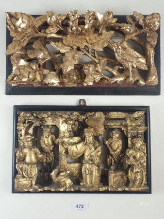 A Chinese carved and gilt wood panel depicting birds and flowers 35 x 18cm and another depicting