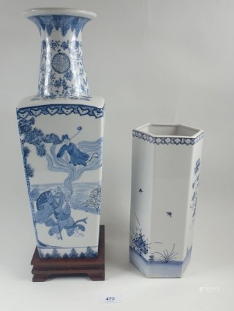 A large Chinese blue and white vase painted figures 45cm and an octagonal one 28cm