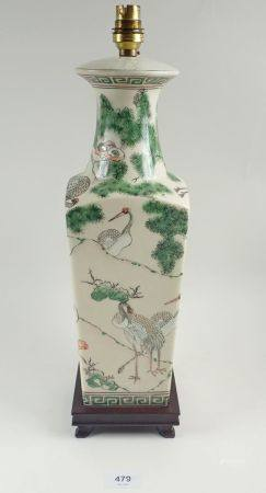 A large Chinese famille verte style table lamp 40cm
