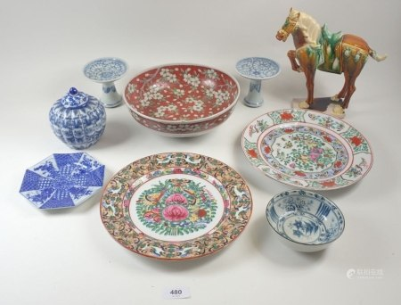 A selection of Chinese ceramics to include a Tang style horse etc (also one small Japanese bowl)