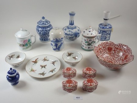 A Chinese small blue and white table lamp and a quantity of modern Chinese porcelain vases , bowls