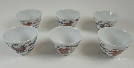 A set of six Chinese famille verte style small tea bowls
