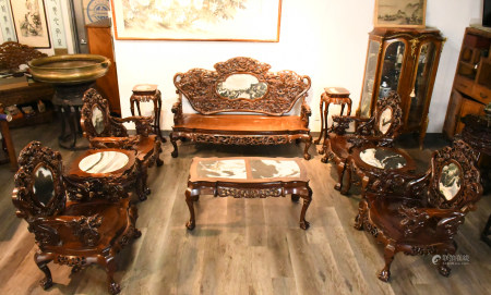 A Ten Pieces Chinese Carved Suanzhi Furniture 20th