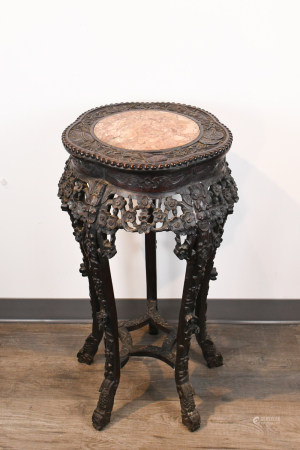 A Suanzhi Insert Marble Flower Stand 19th C