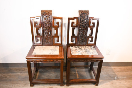A Pair of Suanzhi Insert Marble Chairs Qing