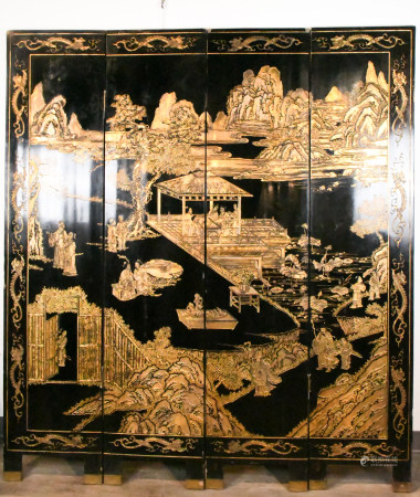 A Chinese Black Lacquer Screen Late Qing