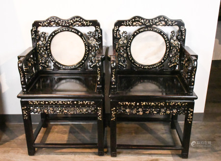 A Pair of Suanzhi Grand Master Chairs 19thC