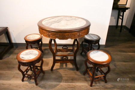 A Set of Suanzhi Round Table&4 stools19thC