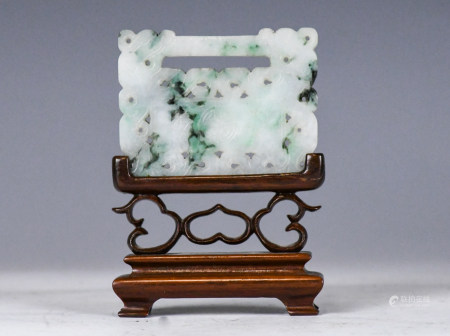 A Chinese Jadeite Carved Plaque with Stand 19thC