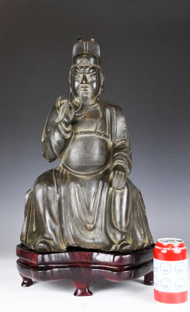 A Lord Superior Bronze Statue with Stand Ming