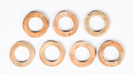 A Group of Seven Archaistic Jade Rings