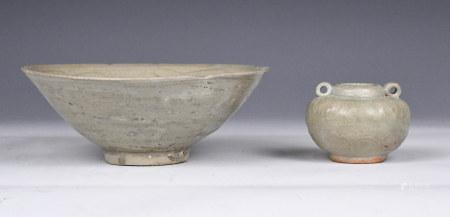 A Celadon Glaze Bowl and Waterpot, Ming