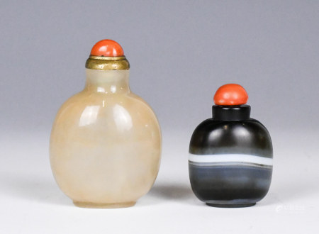 Two Agate Snuff Bottles, Qing