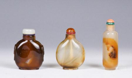 Three Agate Snuff Bottles, Qing