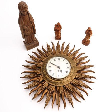 A Lot of 3 Saint Sculptures and Sun Clock