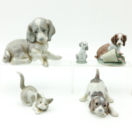 A Collection of  5 Lladro Sculptures