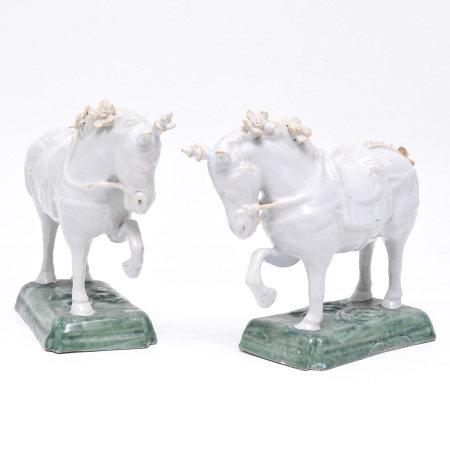 A Pair of Delft Unicorn Sculptures Circa 1760