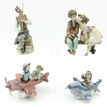 A Collection of 4 Lladro Sculptures