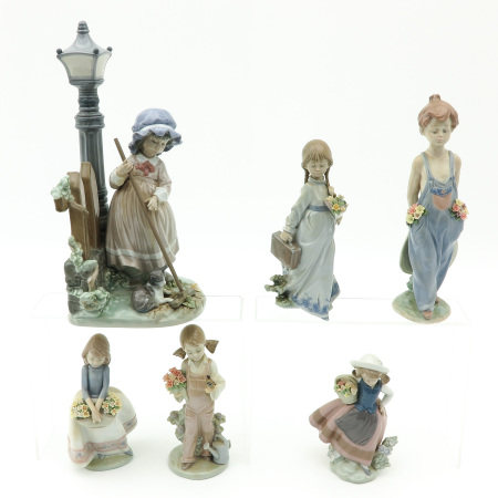 A Collection of 6 Lladro Sculptures