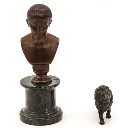 A Bust on Marble Base and Bronze Lion