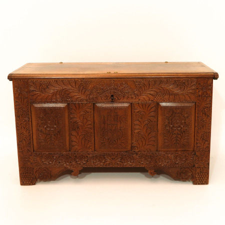A Beautifully Carved Oak Cabinet Dated 1726