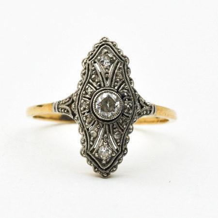 A 14KG Ladies Art Deco Diamond Ring
