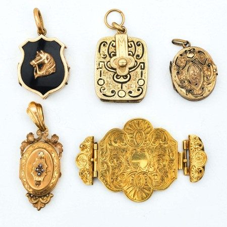 A Collection of Photo Pendants and 1 Bible Clasp
