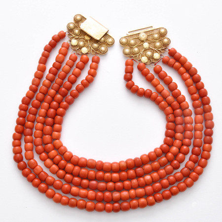 A 5 Strand Red Coral Necklace on 18KG Clasp