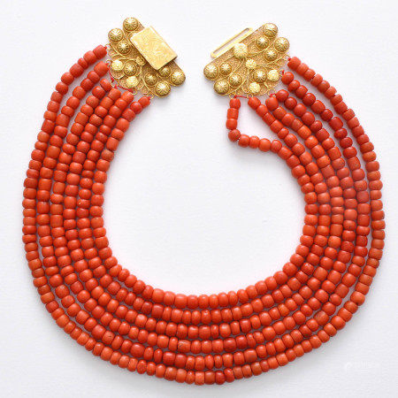 A 6 Strand Red Coral Necklace on 18KG Clasp