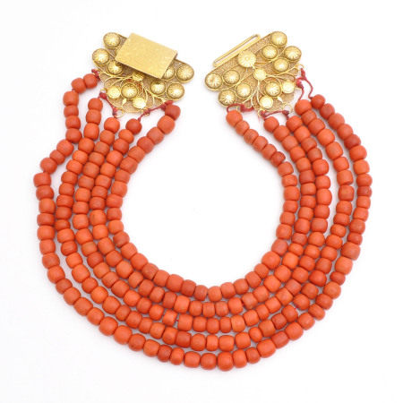 A 5 Strand Red Coral Necklace