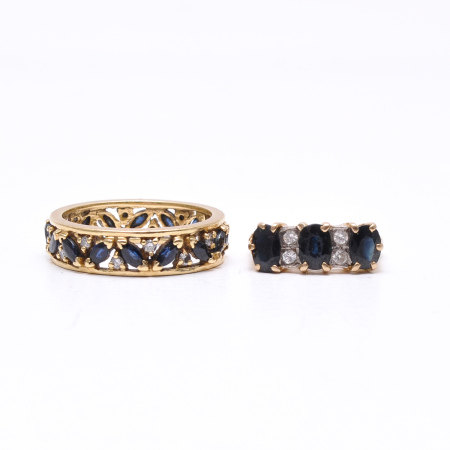 A Lot of 2 Ladies Diamond and Sapphire Rings