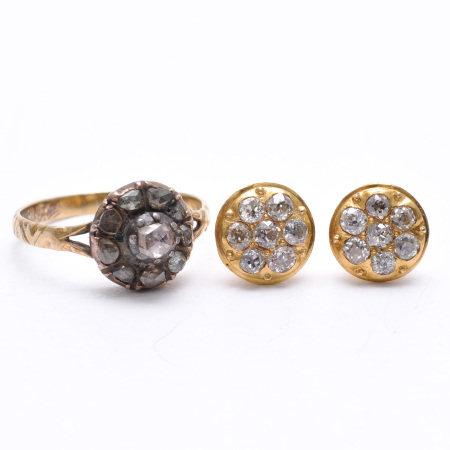 A Ladies Diamond Ring and Diamond Earrings