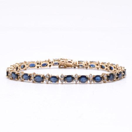 A Ladies 14KG Sapphire and Diamond Bracelet
