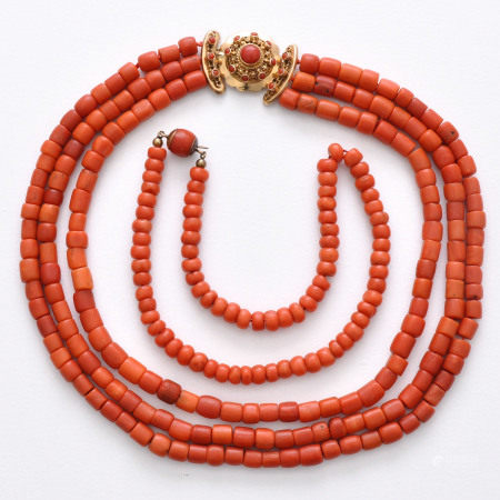 A Lot of 2 Red Coral Necklaces