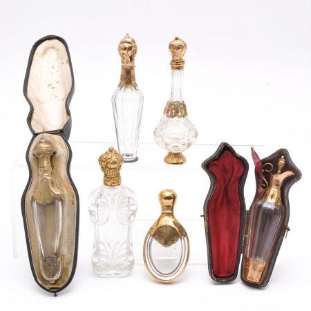 A Lot of 6 Beautiful 19th Century Perfume Bottles