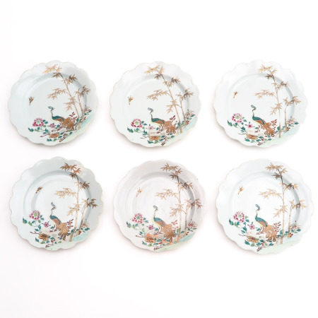 A Series of Six Famille Rose Plates