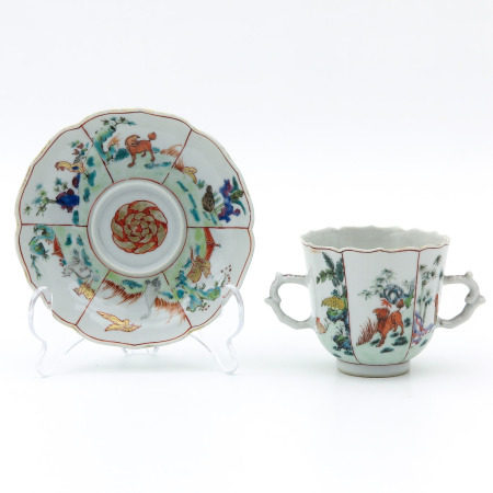 A Polychrome Cup and Saucer