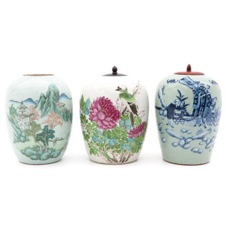 A Collection of 3 Ginger Jars