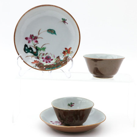 2 Famille Rose Decor Cups and Saucers