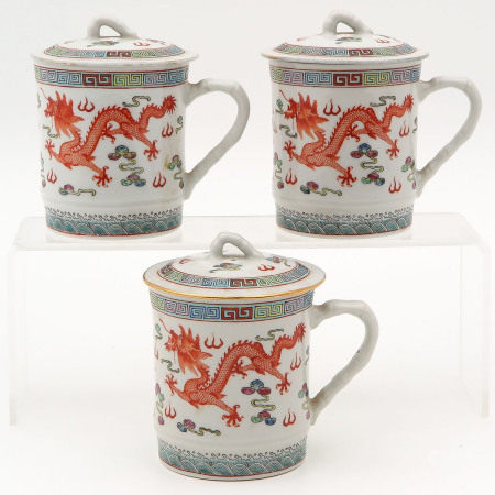 A Collection of 3 Polychrome Mugs