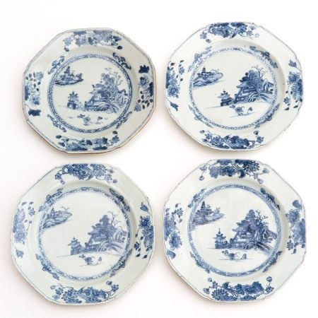 A Series of 4 Blue and White Plates