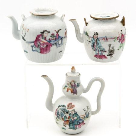Three Polychrome Teapots