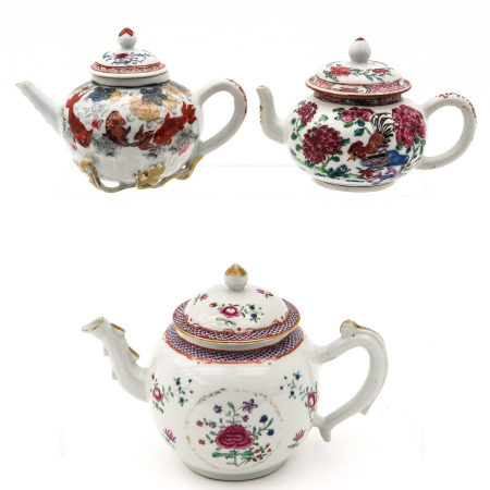 A Collection of Three Teapots