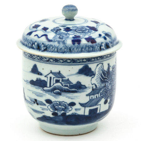 A Blue and White Covered Jar