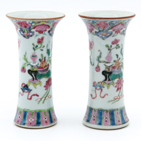 A Pair of Miniature Famille Rose Vases