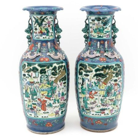 A Pair of Polychrome Vases